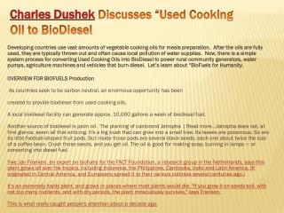 Charles Dushek Discusses �Used Cooking Oil to BioDiesel