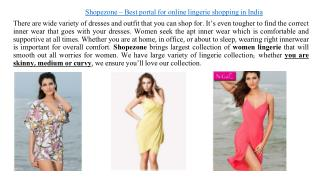 Women lingerie online shopping India