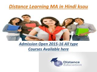Distance Learning Courses MA in Hindi ksou
