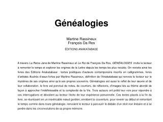 G n alogies  Martine Rassineux Fran ois Da Ros   DITIONS ANAKATABASE