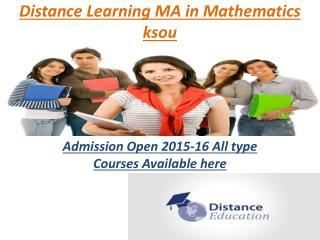 Distance Learning Courses MA in Mathematics  ksou
