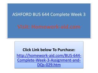 ASHFORD BUS 644 Complete Week 3
