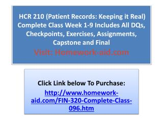 HCR 210 (Patient Records: Keeping it Real) Complete Class We