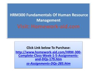 HRM300 Fundamentals Of Human Resource Management