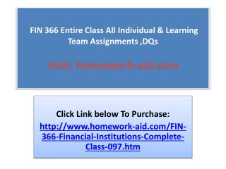 FIN 366 Entire Class All Individual & Learning Team Assignme