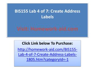 BIS155 Lab 4 of 7: Create Address Labels