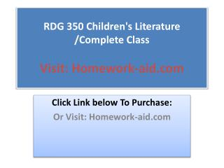 RDG 350 Children's Literature /Complete Class