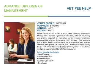 Advance Diploma of Management Course Online