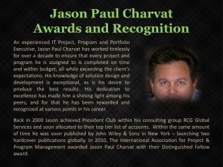 Jason Paul Charvat _Awards and Recognition