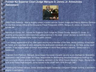 Former NJ Superior Court Judge Marquis D. Jones