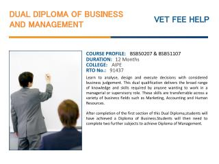 Dual Diploma of Business and Management Course Online Austra