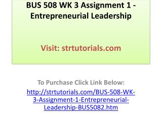 BUS 508 WK 3 Assignment 1 - Entrepreneurial Leadership