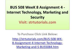 BUS 508 WeeK 8 Assignment 4 - Internet Technology, Marketing