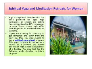 Spiritual Yoga and Meditation Retreats for Women