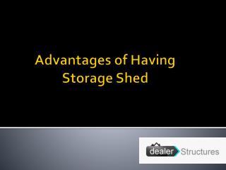 Advantages of having storage shed