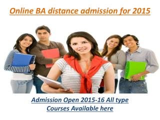 online ba distance admission for 2015