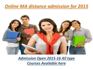 online ma distance admission for 2015