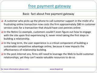 Some important content related free payment gateway
