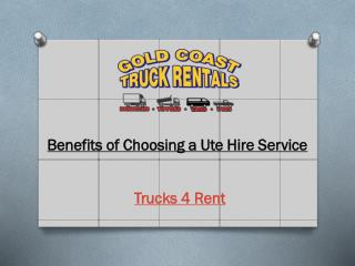Benefits of Choosing a Ute Hire Service