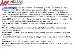 Indian Online Shopping Store in India