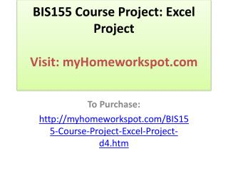 BIS155 Course Project: Excel Project