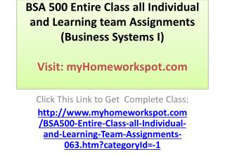 BSA 500 Entire Class all Individual and Learning team Assign