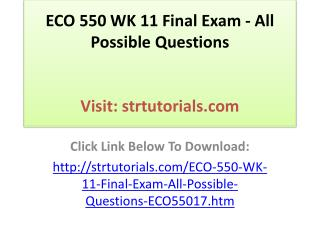 ECO 550 WK 11 Final Exam - All Possible Questions