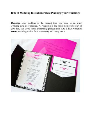 Role of Wedding Invitation !