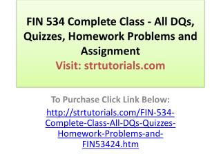 FIN 534 Complete Class - All DQs, Quizzes, Homework Problems