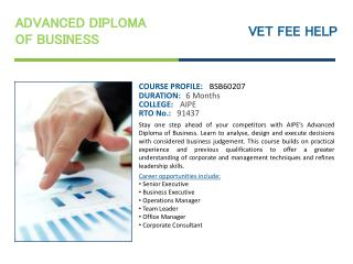 Advanced Diploma of Business Course Online