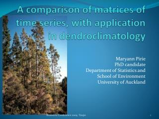 A comparison of matrices of time series, with application in dendroclimatology