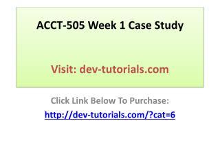 ACCT-505 Week 1 Case Study