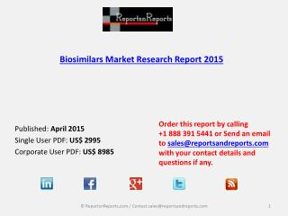 Biosimilars Market Overview in 2015 Research Report