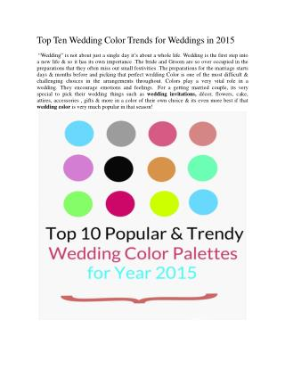 Top Ten Wedding Color Trends for Weddings in 2015
