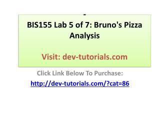 BIS155 Lab 5 of 7: Bruno's Pizza Analysis