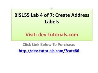 BIS155 Lab 4 of 7: Create Address Labels