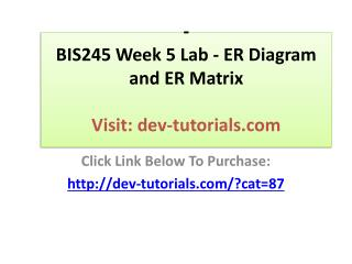 BIS245 Week 5 Lab - ER Diagram and ER Matrix