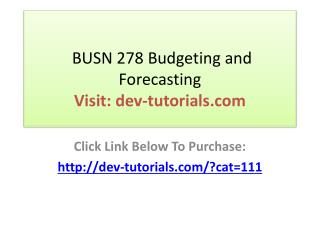 BUSN 278 Budgeting and Forecasting - Course Project   Weekly