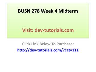 BUSN 278 Week 4 Midterm