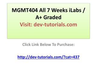 MGMT404 All 7 Weeks iLabs / A  Graded