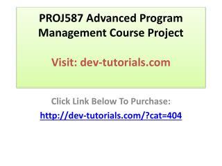 PROJ587 Advanced Program Management Course Project