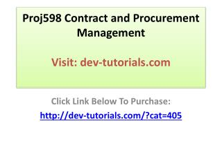 Proj598 Contract and Procurement Management / Complete Cours