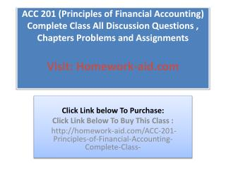 ACC 201 (Principles of Financial Accounting) Complete Class