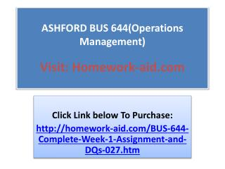 ASHFORD BUS 644(Operations Management)