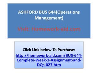 ASHFORD BUS 644(Operations Management)