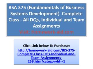 BSA 375 (Fundamentals of Business Systems Development)  Comp