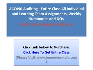 ACC490 Auditing Entire Class All Individual and Learning Te