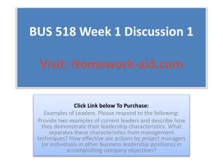 BUS 518 Week 1 Discussion 1