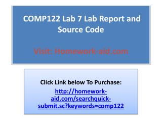 COMP122 Lab 7 Lab Report and Source Code