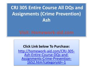 CRJ 305 Entire Course All DQs and Assignments (Crime Prevent